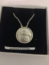 """Yin And Yang 2 PP-G67 Emblem Silver Platinum Plated Necklace 18"""""""