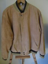 Men's Vintage NIKI Brown/Tan 100% Suede Leather Retro Flight Jacket Coat- Size M