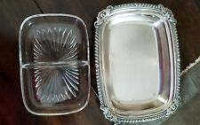 Vintage Oneida Ornate Relish Pickle Tray W/Divided Glass Insert Nice!