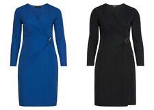 sheego Damen Kleid Dress Abend Cocktail Party Elegant Jersey Schwarz Blau