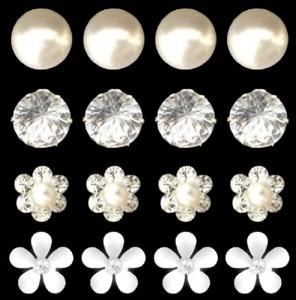 1 - 20 Diamante Pearl Rhinestone Solitaire Flower Daisy Hair Pins Wedding Prom