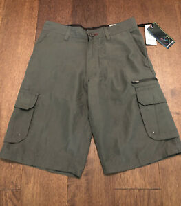 Burnside Shorts Cargo Boys Sz 14-16 Multi Pocket Charcoal Gray
