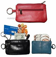 Lot of 3 Leather change purse, Zip coin wallet, 2 pocket coin case w/ key rings