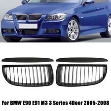 Pair Matte Black Front Kidney Grill Grilles For BMW 3 Series E90 E91 Sedan 05-08