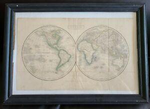 Antique English Hemisphere World map hand colored globe atlas 19th century 1800s