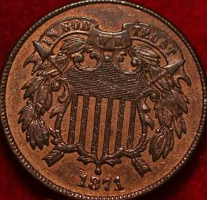Uncirculated 1871 Copper Philadelphia Mint Two Cent Coin