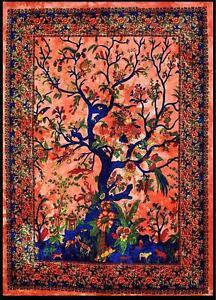 Orange Tree of Life Wall Art Cotton Tapestry Wall Hanging Beach Throw Yoga Mat
