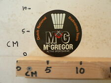 STICKER,DECAL MCGREGOR DUTCH NATIONAL BADMINTON TEAM MG ACTIVE SPORTSWEAR