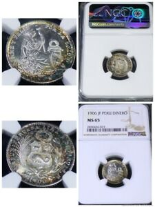 1906 JF Peru Dinero KM# 204.2 - NGC  MS65 - LOVELY TONED COIN