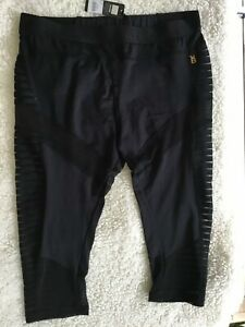 BRAS N THINGS AUTHENTIC PLAYBOY MONOCHROME BLACK ACTIVE LONG PANTS SIZE 14