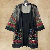 Plus Vintage Boho Festival Sheer Embroidered Cardigan Kimono Black One Size