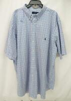 Polo Ralph Lauren Short Sleeve Button Down Shirt White/Blue/Pink Men's 3XLT-Tall