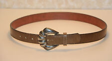 """REPTILE BROWN TAN LEATHER BELT 34-38"""" WAIST 1-1/8"""" WIDE"""
