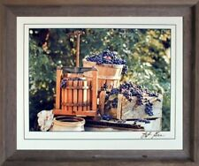 Country Home Grape Press Gore Wine Still Life Wall Decor Barnwood Framed Picture