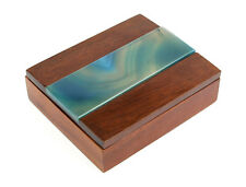 Vintage Wood Trinket Box with Blue Glass Lid - Retro Cigarette Jewellery Case