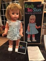 """VTG IDEAL TOYS GOODY TWO SHOES 19"""" DOLL ORIGINAL CLOTHES BOX & TAG"""