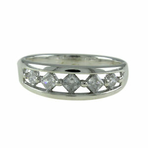 1.80C Simulated Diamond Princess Band 14k White Gold Over Sterling Ring Sz 10