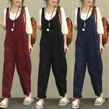 8-20 Womens Strappy Jumpsuit Dungaree Romper Loose Overalls Long Pants Trousers