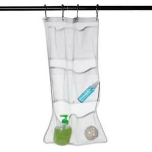 Bathroom Shower Caddy Bath Mesh Hanging Bag Large Pockets Metal Buckle Organizer