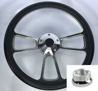 """14"""" Polished Steering Wheel Black Wrap Bowtie Horn Button & Adapter For Chevy"""