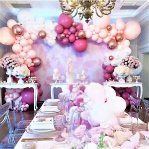 75pc: Mauve, Hot Pink, Peach and White Striking Rose Gold Balloons - Glorious🥰