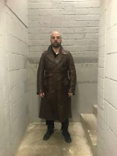 Vintage 1920s British Steampunk Brown Leather Motoring Coat
