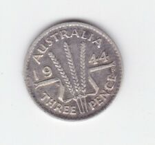1944 S mint variety Sterling Silver Threepence 3P Coin Australia W-508
