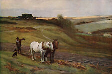 ARTHUR LEMON c1890 Oil Painting AT THE CLOSE OF DAY Vintage Art 1930 Book Print