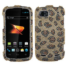 For ZTE Warp Sequent Crystal Diamond BLING Hard Case Phone Cover Leopard