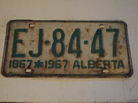 1867 1967 ALBERTA CANADA License Plate EJ 84 47 can