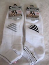 "BNWT- 6PRS BIG FOOT ""ACTIVE SPORT"" WHITE TRAINER SOCKS WITH STRIPES -SIZE 11-14"