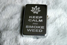 Personalised Free KEEP CALM and Smoke WEED Lighter Cannabis Leaf Smokers Gift 1