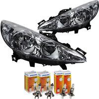 Scheinwerfer Set Peugeot 207 Bj. 06-12 H7+H1 inkl. PHILIPS Lampen EBV