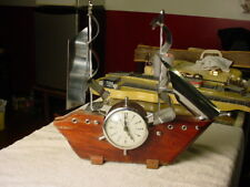 Vintage 1950's United Wood Ship with Clock Chrome Sails
