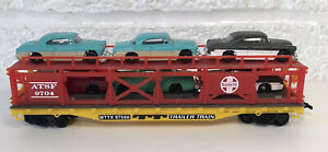 Life Like Santa Fe Trailer Train Car Transporter W Cars Auto Rack Flat HO Scale