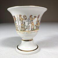 "Greek Art Cup 8 Karat Gold Fountas Ceramics 4.25"" Tall Cup Unusual Center"