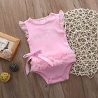 Newborn Baby Girl Pricness Lace Dress Bodysuit Romper Outfit Cotton Clothes Pink
