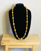 Vintage Necklace Carved Wooden Beads Long Boho Fun Kitsch Costume Jewellery