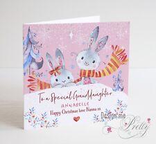 Mignon Personnalisé Bunny Rabbit Carte de Noël-Fille-Fille
