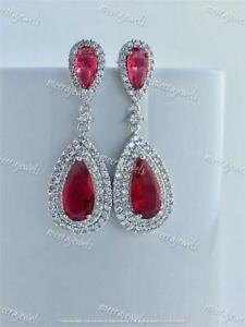 4.80Ct Pear Cut Red Ruby Halo Drop & Dangle Earrings 14K White Gold Finish