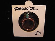 TURQUOISE PALEO COPPER RING sz 5 SHAMANIC TOTEM Healing Gemstone *Handcrafted*