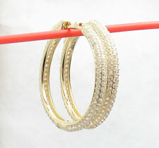 "1.25"" Pave Set Diamonique CZ Zircon Hoop Earrings 14K Yellow Gold Clad Silver"