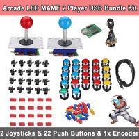 Arcade LED MAME 2 Player USB Bundle Kit w/ 2 Joysticks 4&8 way & 20 Push Buttons