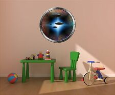 """24"""" Porthole Space Window View ALIEN UFO's #1 SILVER Wall Decal Sticker Graphic"""