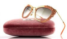 NEW Authentic MIU MIU Pink Suede Gold CatEye Sunglasses MU 04QS SMU 04Q TV1-4K0