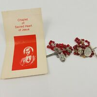 Lot of 2 Sacred Heart of Jesus Red Glass Beads Chaplet Rosary with Prayer Card