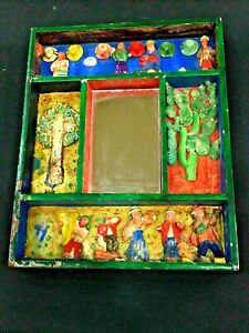 Antique Vintage Mirror 20x17cm Figure wooden handmade Square rectangular divid