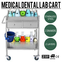 Stainless Steel 2 Layers Serving Cart Medical Dental Lab Trolley Durable BCL