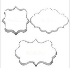 Plaque Frames Cookie Cutter Fondant Gum Paste 3 pc Set NEW