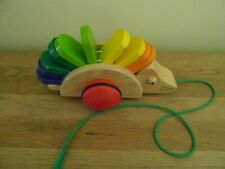 Pre-Owned: INFANT CHILD'S WOODEN PULL ALONG HEDGEHOG on WHEELS - VINTAGE PINTOY